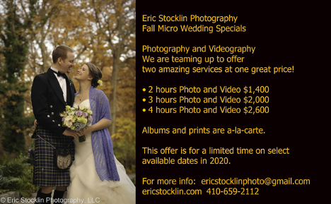 Fall Wedding Photography Special, Maryland Photography and Videography promotion Eric Stocklin Photography, LLC